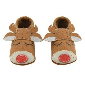 Reindeer Moccasins Leather NEW 0-6/6-12 mos